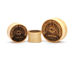 Laser Engraved All Seeing Eye Crocodile Wood Plugs