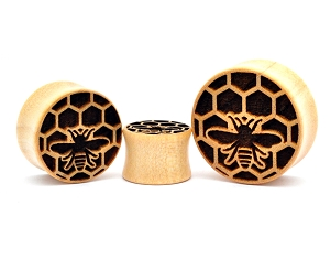 Laser Engraved Honeycomb Crocodile Wood Plugs