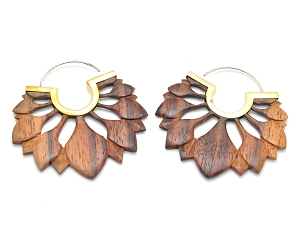Hoop Earrings with Sono Wood Lotus Petals