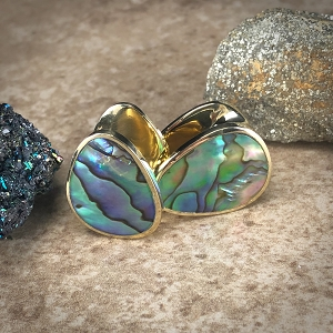 Pair of Brass Spade Weights with Abalone Inlay