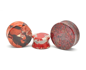 Red Brecciated Jasper Double Flare Plugs