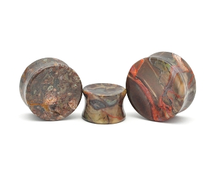 Amber Agate Double Flare Plugs