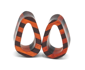 Bloodwood and Ebony Wood Striped Teardrop Tunnels