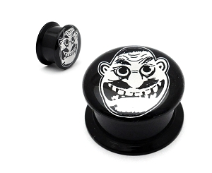 Black Acrylic Anthrax Not Man Picture Plugs