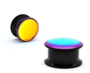 Black Acrylic Lavender Opalescent Shimmer Plugs