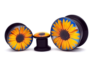 Black Acrylic Sunflower Picture Plugs