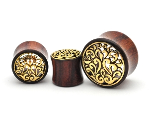 Sono Wood Plugs with Brass Filigree