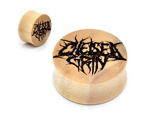 Laser Engraved Chelsea Grin Logo Crocodile Wood Plugs