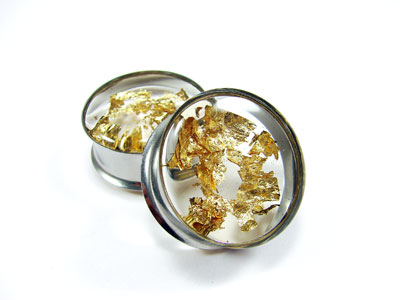 Embedded Gold Flake Resin Plugs