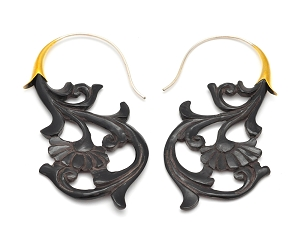 Buffalo Horn Fanning Design Hook Earrings