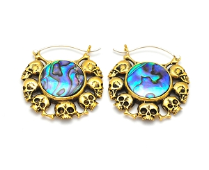 Gold Skulls and Abalone Earhoops
