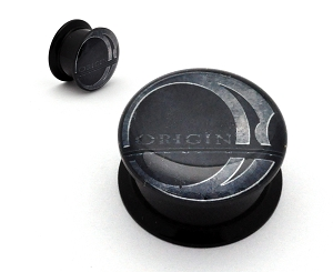 Black Acrylic Origin Logo Picture Plugs