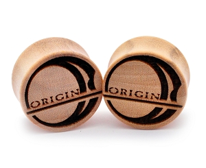 Laser Engraved Origin Logo Crocodile Wood Plugs