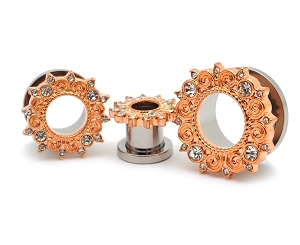 316L Steel Screw on Tunnels with Rose Gold Plated CZ Vintage Filigree Top