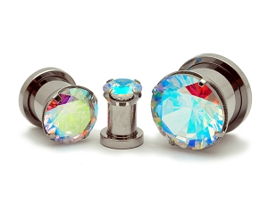 316L Steel Screw on Plugs with Single Prong Set Multicolored CZ