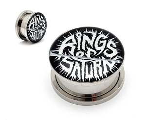 Rings of Saturn Black and White Logo Picture Plugs