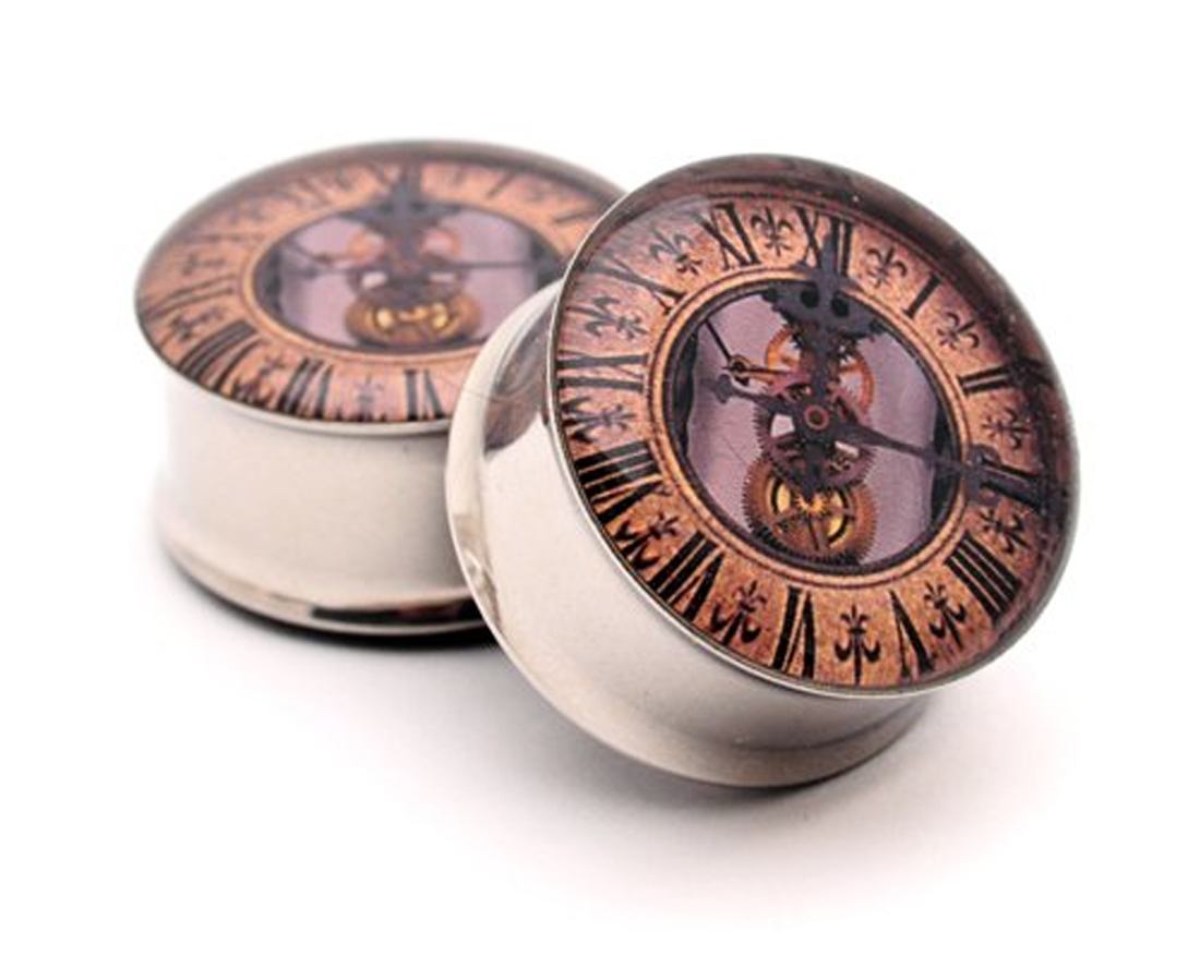 Pair Of Steampunk Clock Picture Plugs Style 2 Gauges