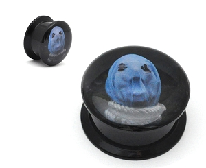 Black Acrylic The Faceless In Becoming A Ghost Picture Plugs