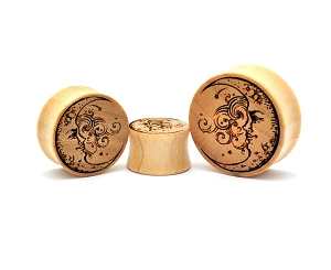 Laser Engraved Crocodile Wood Half Moon Plugs