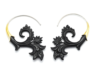 Hook Earrings with Buffalo Horn Flower Design
