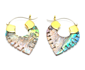 Hoop Earrings with Abalone Shell Notched Spears