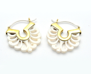 Hoop Earrings with Buffalo Bone Swirls