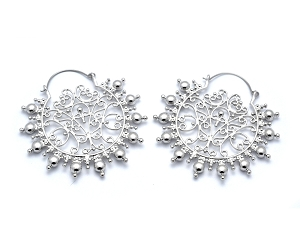 Hoop Earrings with Ball Beaded Filigree Design