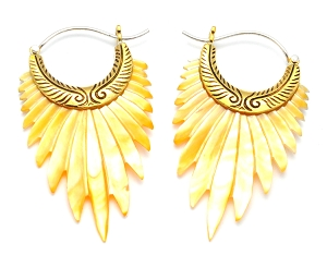 Hoop Earrings with Mother of Pearl Feathers