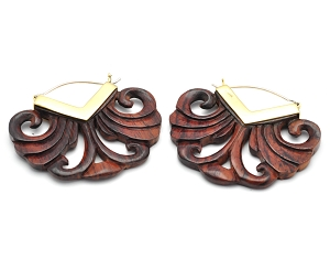 Hoop Earrings with Sono Wood Half Round Filigree
