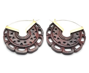 Hoop Earrings with Sono Wood Round Design