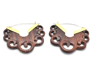 Hoop Earrings with Sono Wood Half Round Swirl