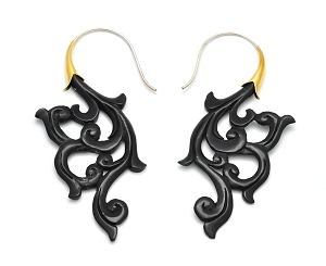 Buffalo Horn Floral Swirl Hook Earrings