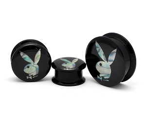 Acrylic Black Screw On Plugs With Mother of Pearl Playboy Bunny Inlay