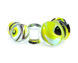 Black and Yellow Swirl Glass Plugs