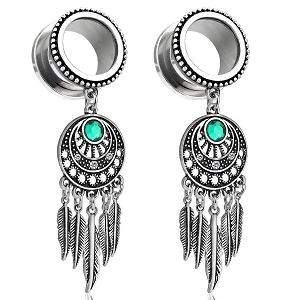316L Stainless Steel Tunnels with Dreamcatcher Dangle