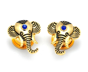 316L Stainless Steel Tunnels with Gold Elephant and Sapphire CZ