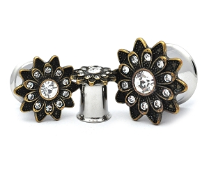 316L Stainless Steel Tunnels with Vintage Gold Flower with Clear CZ