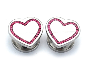 316L Stainless Steel Plugs with Pink CZ Heart Tops