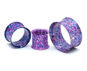 316L Steel Metallic Blue and Purple Splatter Double Flare Tunnels