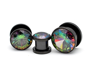 316L Black Steel Screw on Plugs with Press Fit Rainbow CZ