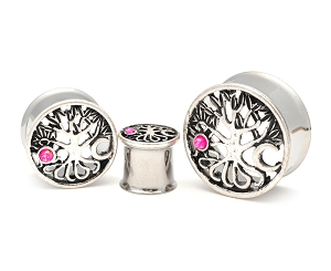 316L Stainless Steel Tunnels with Sun and Moon Tree of Life Top