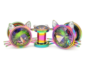 316L Rainbow Steel Screw on Plugs with Cat Head and Rainbow Gem