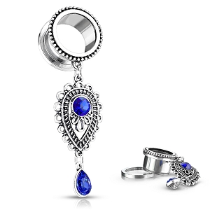 316L Surgical Steel Screw On Tunnels With Sapphire Blue Stone Set Teardrop Dangle