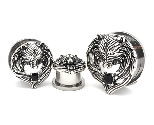 316L Surgical Steel Screw On Tunnels With Wolf Head and Angel Wings Top