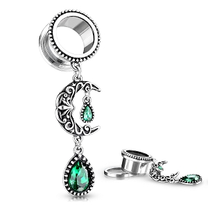 316L Surgical Steel Screw On Tunnels With Emerald Filigree Moon and Green Stone Set Pear Dangle
