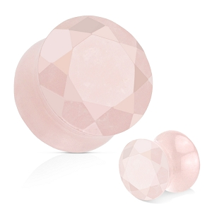 Rose Quartz Faceted Gem Cut Double Flare Stone Plugs