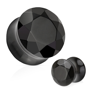 Black Agate Faceted Gem Cut Double Flare Stone Plugs