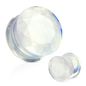 Opalite Faceted Gem Cut Double Flare Stone Plugs
