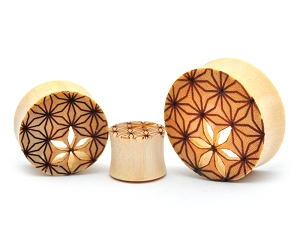 Crocodile Wood Plugs with Flower of Life Cutout