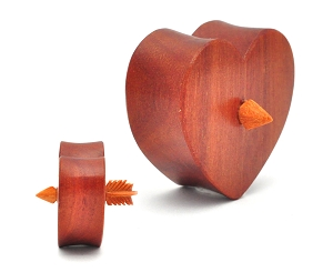 Sawo Wood Heart With Arrow In Center